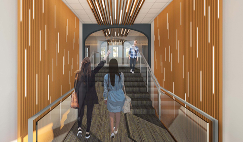 New entrance to Ellis will open to a central, welcoming lobby. Shows students entering main lobby.