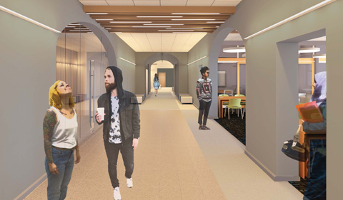 New hallway in Ellis Hall with open archways to student learning space. Rendering shows students walking in hallways