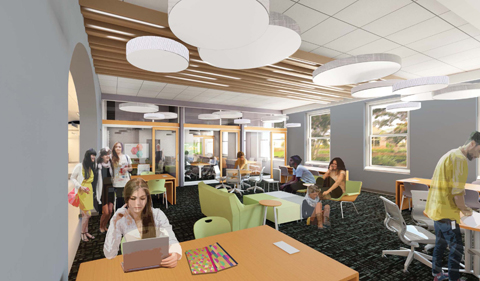 New student learning space in Ellis Hall. Rendering showing students seated and walking.