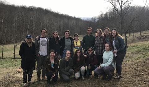 Food Matters students at goat farm, group shot