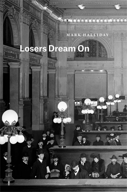 Losers Dream On book cover, Black and white book cover showing a large room, tables
