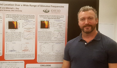 """Dr. Mitchell Day presents on """"Individual Inferior Colliculus Neurons Encode Sound Location Over a Wide Range of Stimulus Frequencies."""" Shown here standing with his poster."""