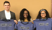 Niara Stitt, Keeghan White, and Logan Stark with Case Western Reserve University Law School t-shirts