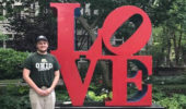 Brandon Niese with the iconic LOVE sculpture in Philadelphia