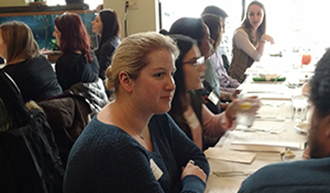 Natasha Lorenz talks with Chris Hedges at Sociology and Anthropology Alumni Lunch in February 2018.