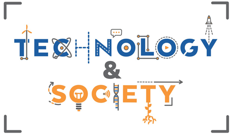 Technology & Society logo, with stylized lettering to indicate high-tech