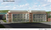 North elevation view of new chemistry building. Courtesy of BHDP + Flad Architects.