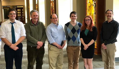 Samuel Hanson (left) and Anika Friedman received Honorable Mention recognition from Physics and Astronomy Chair Dr. David Ingram, and judges Drs. David Tees and Paul King.