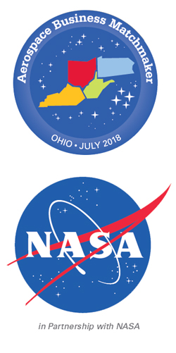 Logos for the Aerospace Business Matchmakers at Ohio University in July 2018 and logo for NASA