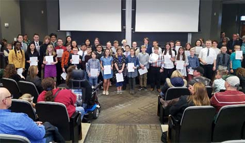 Award Winners for 2018 District 12 Science Fair, group photo