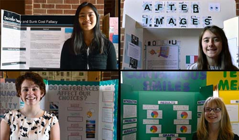 Award winners and their projects. Clockwise from upper left: Nora Anderson, Alexa West, Emma Powers, and Marie Souther.
