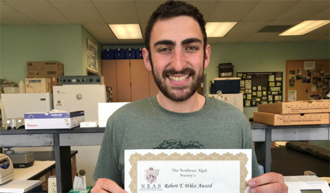 Danny Wolf receives Robert T. Wilce Graduate Paper Award for best oral presentation at the annual Northeast Algal Symposium.