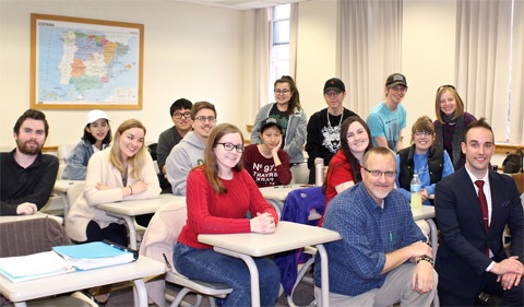 Jack Clancy (front row, right) speaks to Chris Thompson's Business Japanese Class