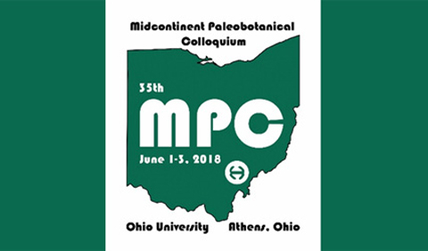 Logo for 35th Midcontinent Peleobotanical Colloquium, held June 1-3, 2018, at Ohio University in Athens, Ohio