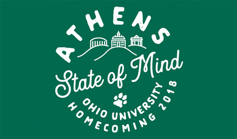 Homecoming 2018 logo, featuring hills, Cutler, the Convo nad the Alumni Gateway
