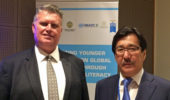 James Petrik with Kazakh National University Rector, Galym Mutanov