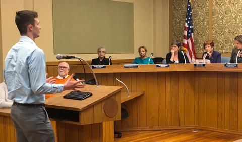 Jarrett Quanrud presents to Zanesville City Council.