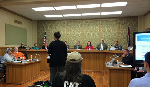 Jessica Dalzell, geography graduate student, presents the group's findings to the mayor and City Council of Zanesville.