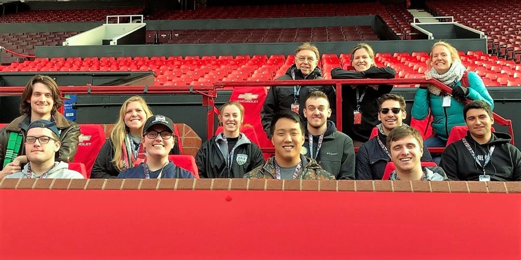 Students at Manchester, England for UK Sport and Culture Study Abroad Program