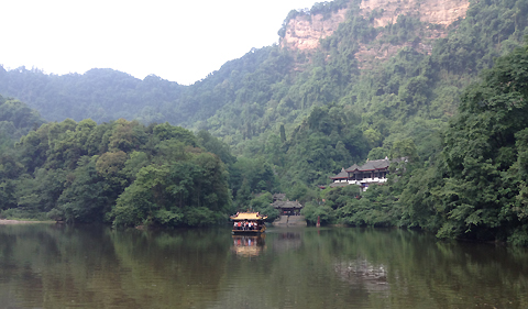 Ferry transporting visitors to the Taoist Shrine at the base of Mount Quincheng (Photo provided by Charlotte Elster)