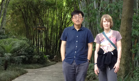 Chen Ji and Charlotte Elster visit a grove of rare bamboo on display at the Wangjiang Pavilion Park, Chengdu, China