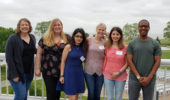 From left: Dr. Jessica K. White, Rachael Pickens (J. K. White group), Shabnam Pordel (J. K. White group), Samantha Roe (T. A. White group), Sima Saeedi (T. A. White group), Dr. Travis A. White.
