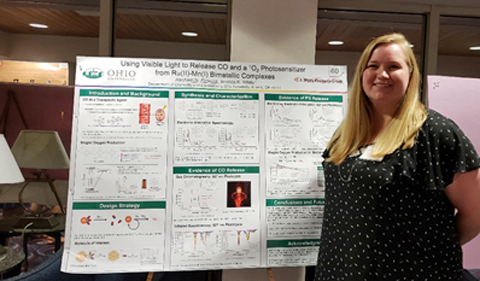 Rachael Pickens presenting her graduate research, standing in front of her poster.