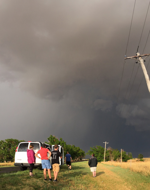 A hail shaft from a supercell in the Oklahoma panhandle stopped the group in its tracks, but was still a great opportunity for photos.