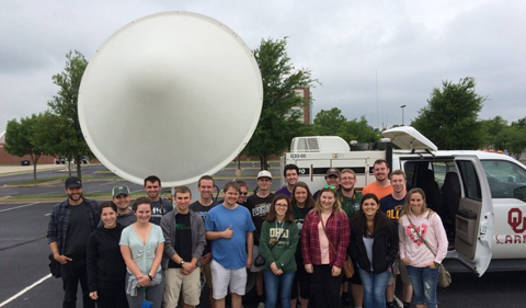 Before returning to Ohio, the group was able to visit the National Weather Center at the University of Oklahoma, posing along with a tour of the RaXPol mobile radar truck.