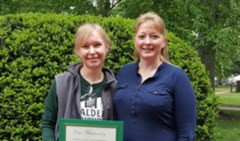 Claire Kimok (left) and her co-worker and Employee of the Month nominator Cheri Sheets (right).