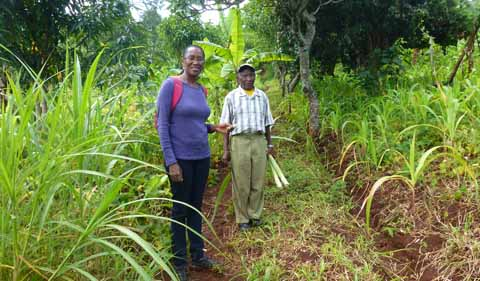 A farmer shows Edna Wangui around his farm.