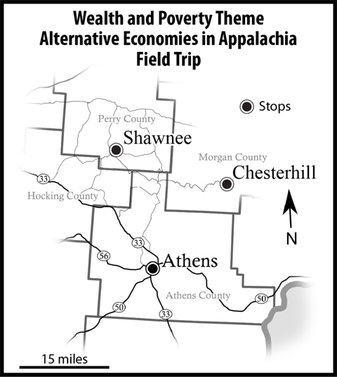 Map for Alternative Economies in Appalachia Field Trip, showing stops in Chesterhill, Shawnee and Athens, Ohio