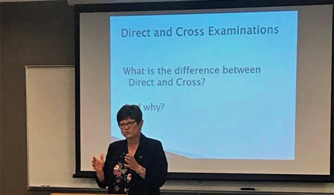 Attorney and alum Sandra Anderson instructs students on direct and cross examinations.