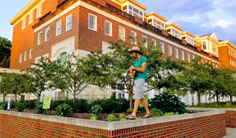 Benjamin Shonk at Baker Center Edible Garden, shown walking on a ledge