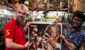 Dr. Brian Collins and memorabilia dealer Shahid Mansoori at Chor Bazaar in Mumbai.