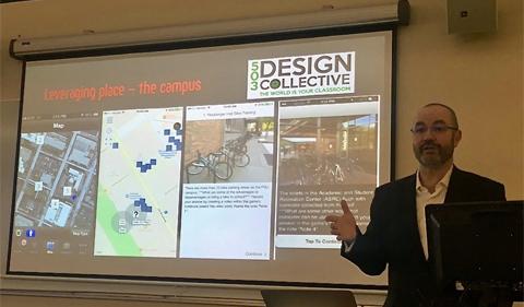 Dr. Sebastién Dubriél discusses game development community of practice--with a PowerPoint presentation
