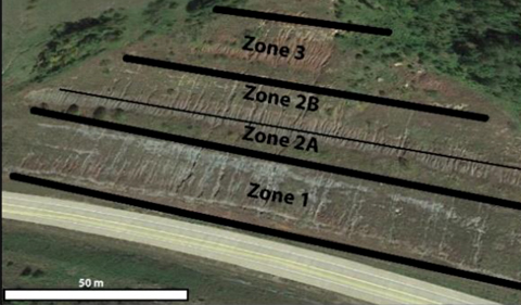 an aeral photo of an outcrop beside a highway with an overlay of Zone 1, Zone 2A, Zone 2B, and Zone 3 marked by black lines