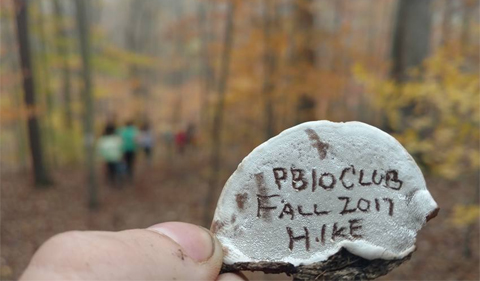 "In Zaleski State Forest, an ""artist's conk"" mushroom, with PBIO Club Fall 2017 Hike written on it.."