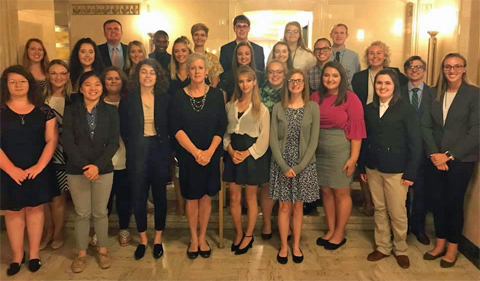 Institute students with Chief Justice Maureen O'Connor at Ohio Supreme Court.