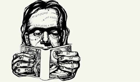 Frankenreads, a marathon live reading of the entire novel, illustrated here with Frankenstein reading a book