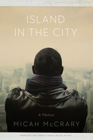 book cover, man looks over cityscape