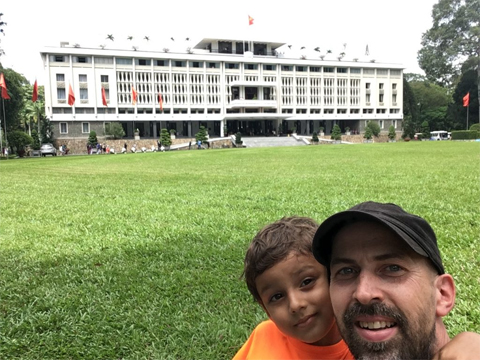 Jared Bibler and his son, Euan, visiting Independence Palace (Reunification Palace) in Ho Chi Minh City