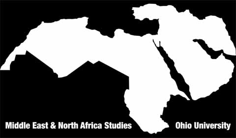 Black and white map showing Middle East and North Africa, and labeled Middle East and North Africa Studies, Ohio University