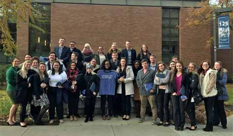 Group photo of Phi Alpha Delta visiting Case Western Reserve School of Law