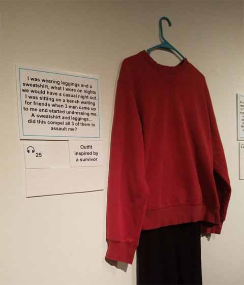 Red sweater and black leggings in what were you wearing exhibit
