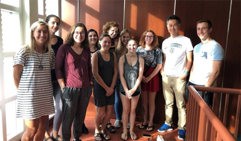 Group photo: During his stay in Athens, Hirata met with neuroscience students from the Honors Tutorial College.