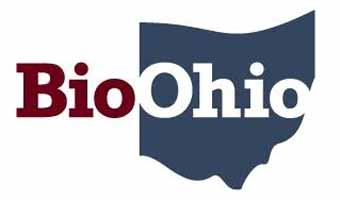 BioOhio logo--with background outline of state of Ohio.