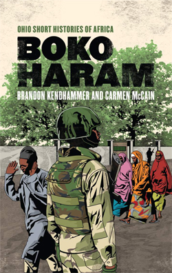 Book cover for Boko Haram, with illustration of armed man and Muslim civilians