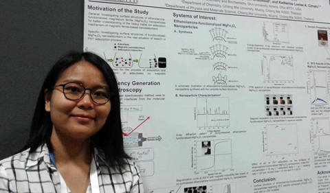 Jeeranan Nonkumwong presents her poster at an American Chemical Society conference.