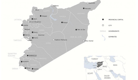 Map-Syria-Governorates, showing greater Middle East and North Africa
